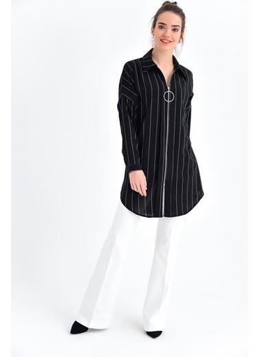 Jument Aurobin Çizgili Yakalı Yarasa Kol Fermuarlı Tunik Gömlek Siyah